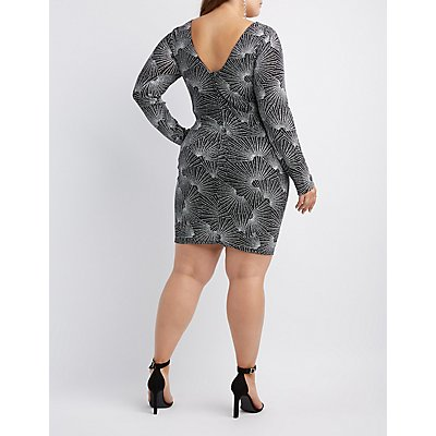 Plus Size Shimmer Scoop Neck Bodycon Dress