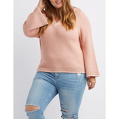 Plus Size Shaker Stitch V-Neck Pullover Sweater