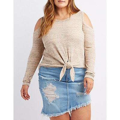 Plus Size Marled Cold Shoulder Tie-Front Top