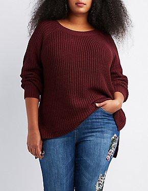 Plus Size Shaker Stitch Open-Back Sweater