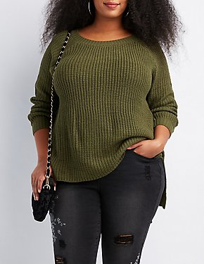 Plus Size Shaker Stitch Open-Back Sweater