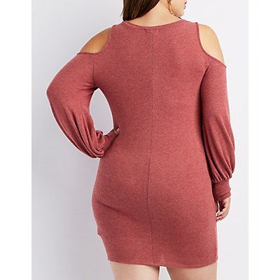 Plus Size Cold Shoulder Hacci Sweater Dress