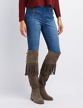 Faux Suede Studded Fringe Over-The-Knee Boots