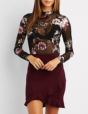 Floral Mesh Mock Neck Crop Top