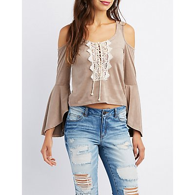 Crochet-Trim Faux Suede Cold Shoulder Skimmer Top