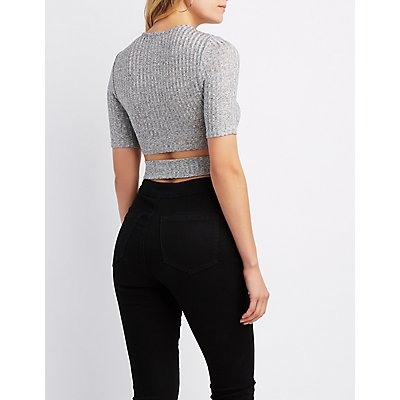 Ribbed Surplice Tie-Front Crop Top