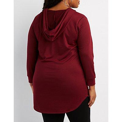 Plus Size V-Neck Drawstring Hoodie