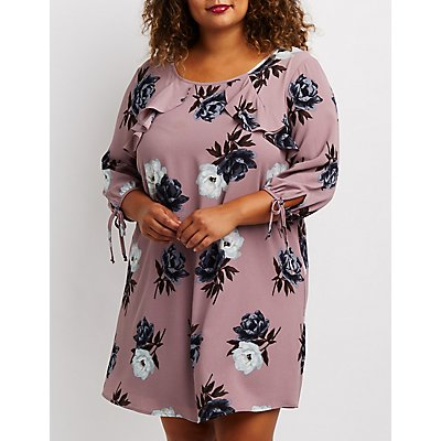 Plus Size Floral Ruffle-Trim Open-Back Dress