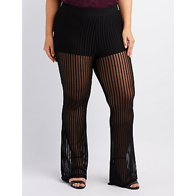 Plus Size Shadow Stripe Palazzo Pants