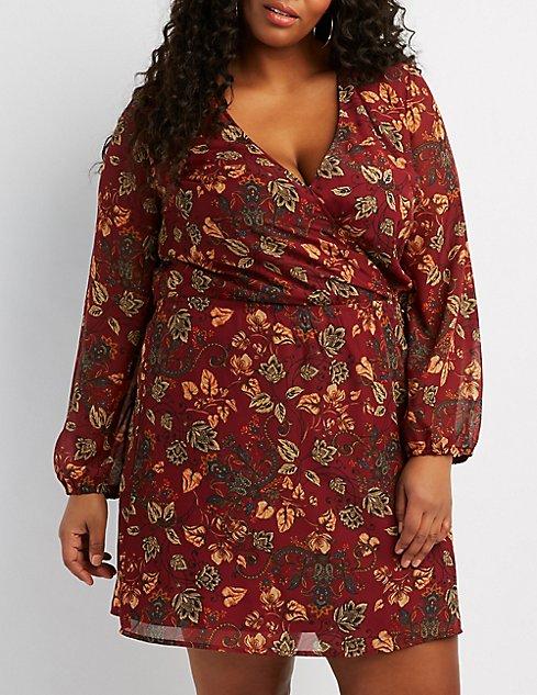 Plus Size Floral Surplice Dress Charlotte Russe