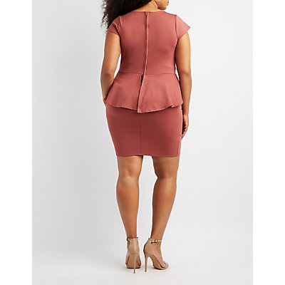 Plus Size Strappy Peplum Dress