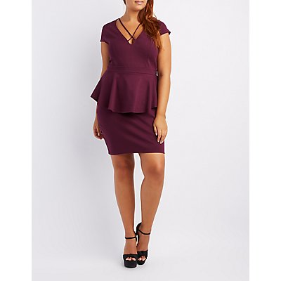 Plus Size Caged Peplum Bodycon Dress