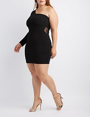 Plus Size One Shoulder Shimmer Knit Bodycon Dress
