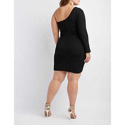 Plus Size One Shoulder Shimmer Knit Bodycon Dress