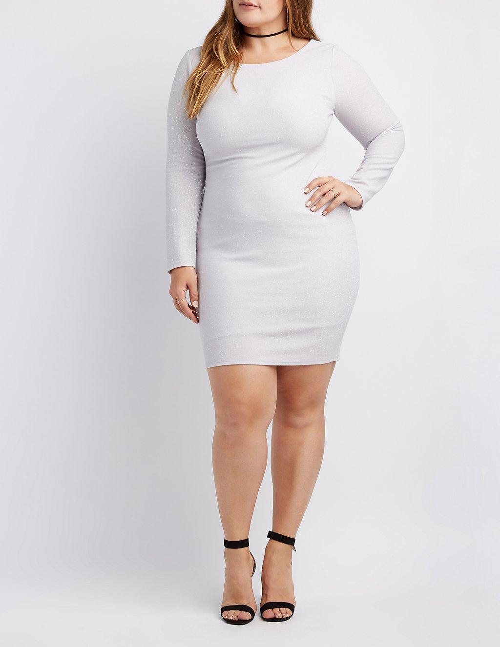 Plus Size Shimmer Knit Open-Back Bodycon Dress | Charlotte Russe