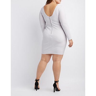 Plus Size Shimmer Knit Open-Back Bodycon Dress