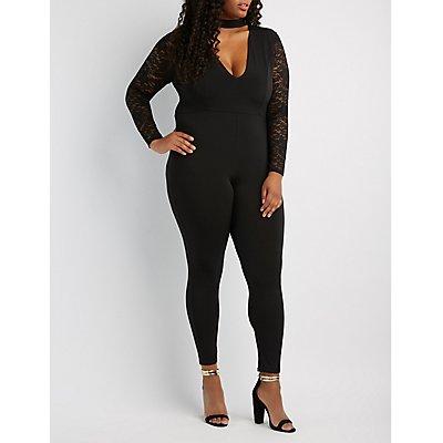 Plus Size Lace-Trim Choker Neck Jumpsuit