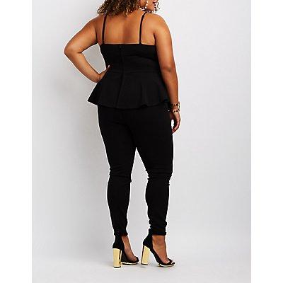 Plus Size Bib Neck Peplum Jumpsuit