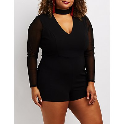 Plus Size Mesh-Trim Choker Neck Romper