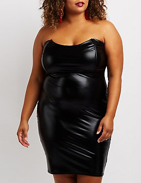 Plus Size Strapless Faux Leather Bodycon Dress