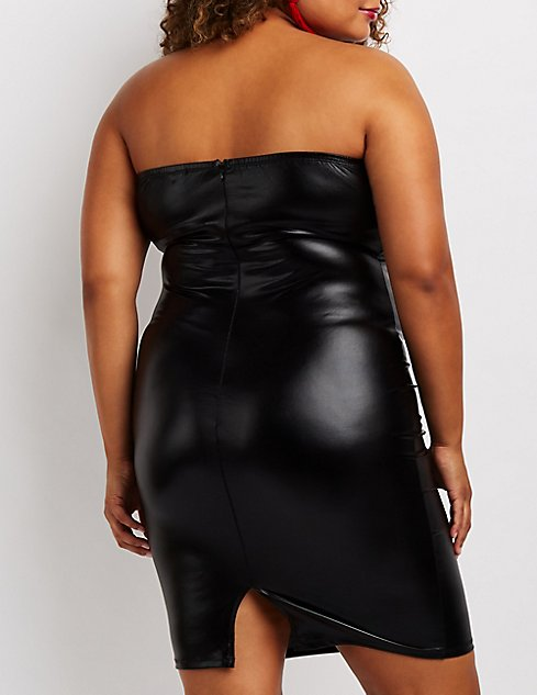 Plus Size Strapless Faux Leather Bodycon Dress Charlotte Russe