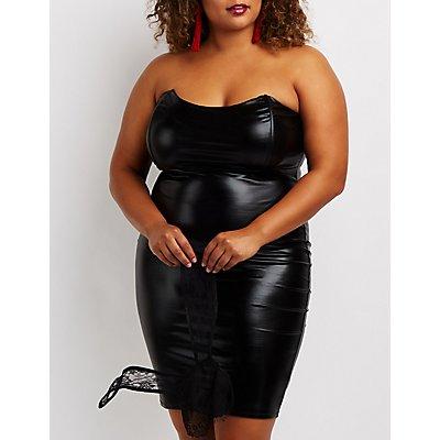 Plus Size Strapless Faux Leather Bodycon Dress