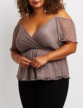 Plus Size Metallic Cold Shoulder Surplice Top