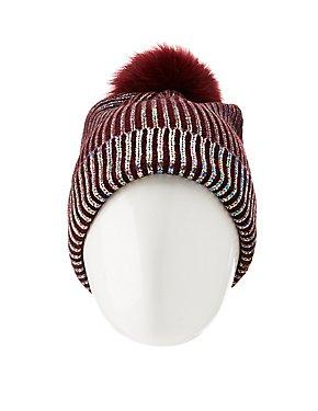 Metallic Rib Knit Pom Pom Beanie