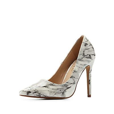 Marble Print Pointed Toe Pumps
