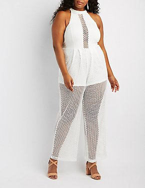 Plus Size Mock Neck Mesh Combo Jumpsuit