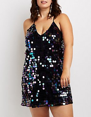 Plus Size Strappy Sequins Bodycon Dress