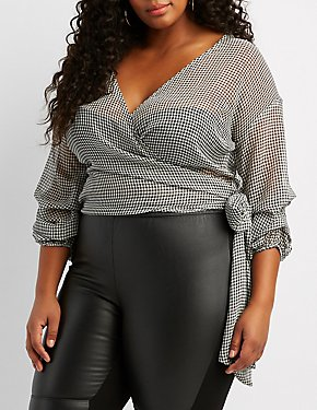 Plus Size Gingham Wrap-Tie Top