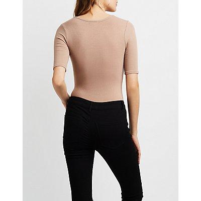 Ribbed Lattice-Front Bodysuit