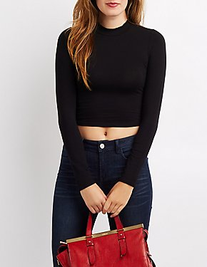 Mock Neck Crop Top