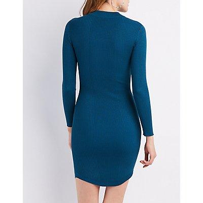 Ribbed Mock Neck Bodycon Sweater Dress