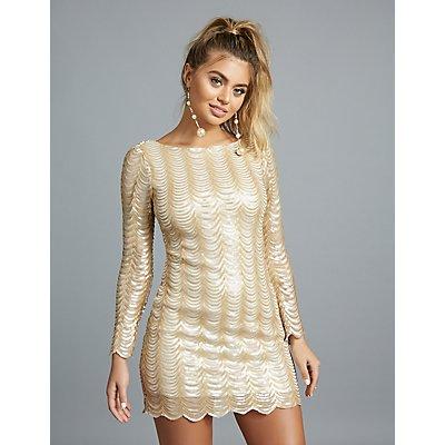 Long Sleeve A-Line Sequins Dress