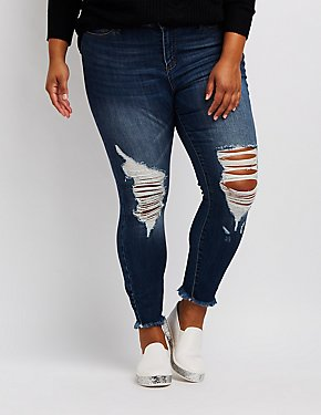 Plus Size Cello Destroyed Frayed Hem Jeans