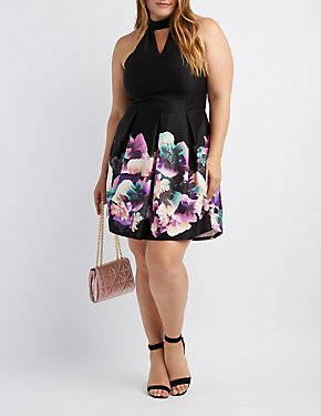 Plus Size Floral Cut-Out Skater Dress