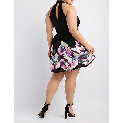 Plus Size Floral Cut-Out Skater Dress
