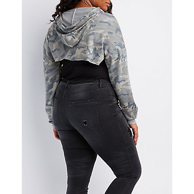 Plus Size Camo Cropped Hoodie