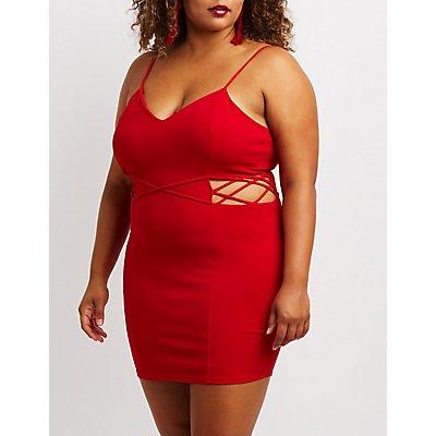 Plus Size Lattice Detail Bodycon Dress