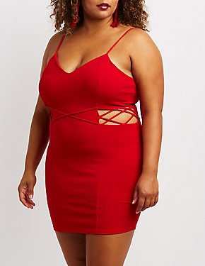 Plus Size Lattice Detail Bodycon Dress