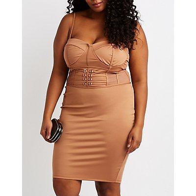 Plus Size Mesh-Inset Bodycon Dress