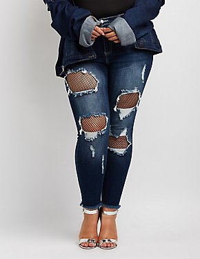 Plus Size Cello Destroyed Fishnet-Trim Skinny Jeans
