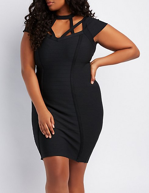 Plus Size Caged Bandage Bodycon Dress Charlotte Russe