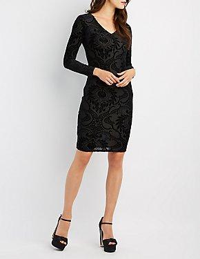 Flocked Velvet Bodycon Dress