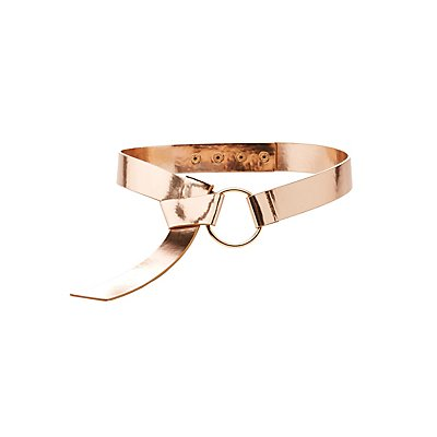 Plus Size Metallic Faux Patent Ring Belt