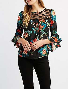 Floral Lace Bell Sleeve Top