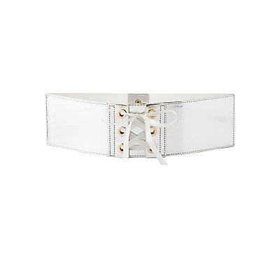 Plus Size Metallic Lace-Up Waist Belt