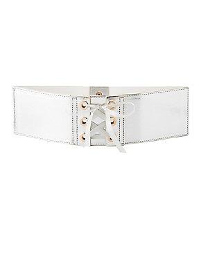 Plus Size Metallic Lace-Up Waist Belt